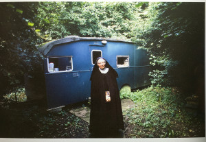 "In front of the trailer she now lives in, in seclusion. As seen in her 2006 book ""Joy Lasts"" published by Getty Publishing."