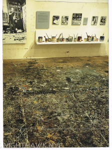 What does that remind you of? It's Pollock's Studio Floor, as it appeared when I was there in 1999. They provided these bootoes, but there was no way I was going to walk on it- it's sacred.