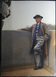 Wright, in my favorite picture of him, on the balcony of the Guggenheim, under construction, that he would not live to see open. Guggenheim postcard from my collection.