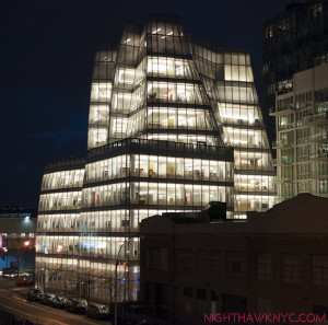 Gehry's IAC Building- like sails on the adjacent Hudson River. Seen from the HighLine.