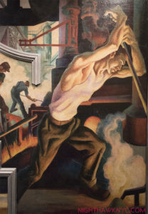 "Yes, It's 18 year old Jackson Pollock posing for his teacher, Thomas Hart Benton's mural, ""America Today,"" now at The Met."