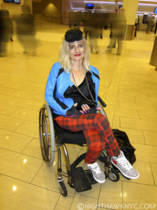 Magda stoping traffic in Madison Square Garden's Lobby before Morrissey, June, 2015