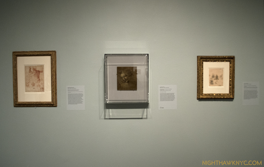 Blink, and you missed it. Briefly on view, Leonardo, center and left, Michelangelo, right.
