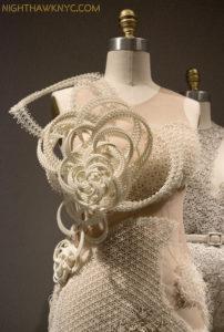 "Threeasfour, ""Interdimensional"" Dress, 2016. Machine sewn white neoprene, hand-applique 3D ivory resin."