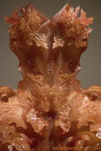 Lacework.? Iris van Herpen, Autumn 2012, 3D Printed dark orange epoxy.