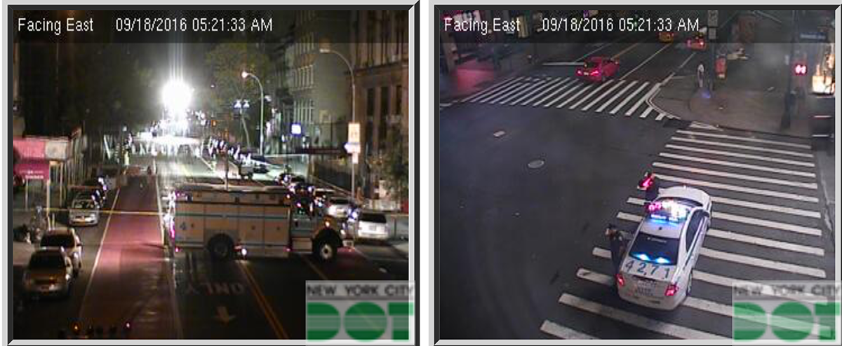 Left-The bomb scene at 530am. Right- West 34th & 7th Avenue. Macy's is across the street to the upper left. Madison Square Garden is right behind to the lower right.