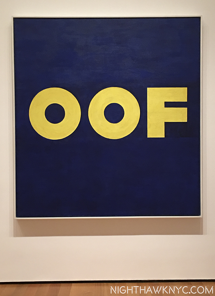 "Ed Ruscha's ""OOF,"" 1962, at Moma, one of the most beloved works in Western Art at the NighthawkNYC Offices (It's an inside joke.)"