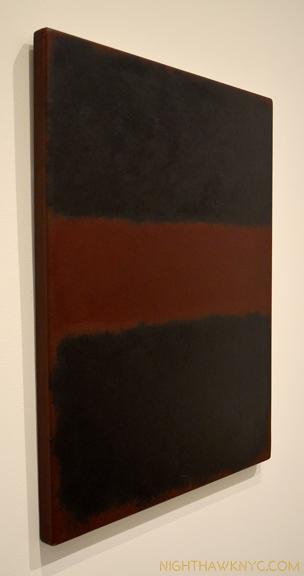 """Untitled,"" 1968, one of a few acrylic on paper, mounted on panel pieces here, seen from an angle."
