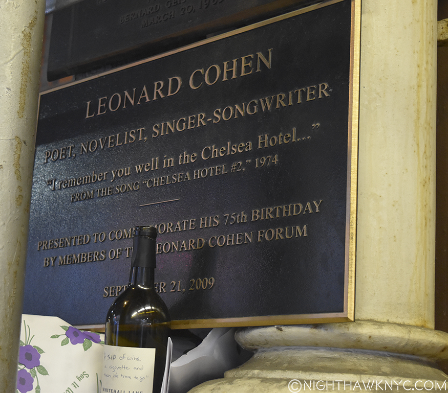Leonard Cohen's wall plaque is now behind the scaffolding, making it very hard to get a shot of.