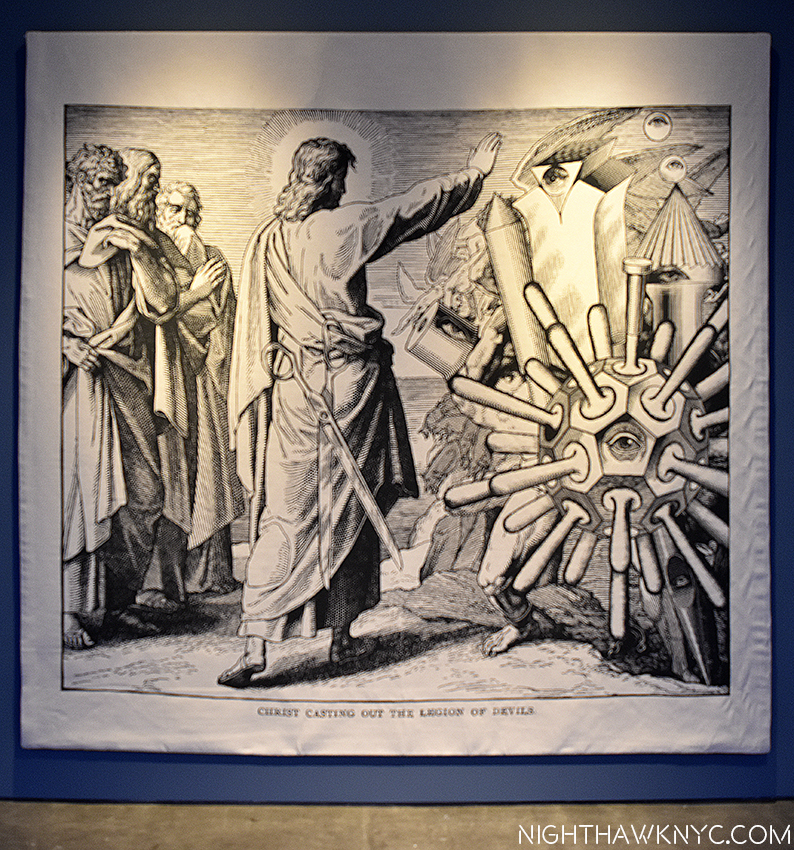 """""""Christ Casting Out The Legion Of Devils,"""" Tapestry from engraving collage. Both seen at Paul Cooper Gallery"""