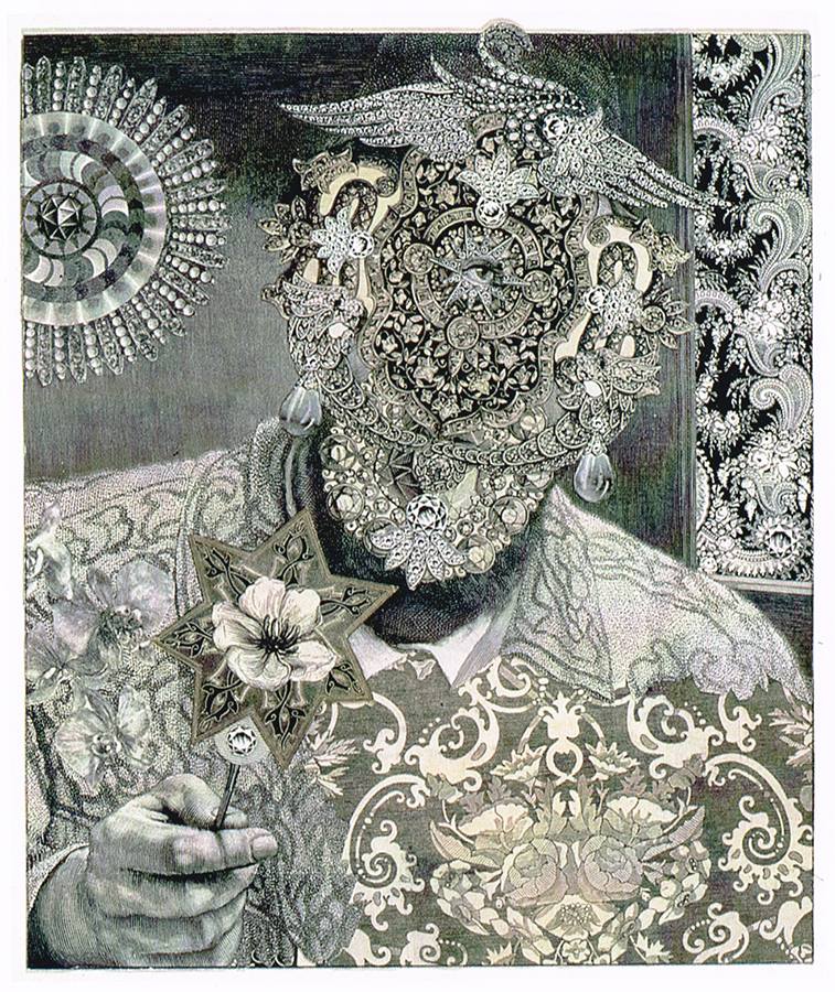"""PSYCHEDELICATESSEN OWNER,"" 1990 collage from engravings. Photo ©MoMA"